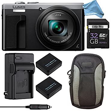 Panasonic LUMIX ZS60 4K Digital Camera ULTIMATE PRO BUNDLE (Silver) Camera + 32GB SD Card + Replacement Battery and Charger + Professional Digital Camera Case + DigitalAndMore Lens Cleaning Cloth