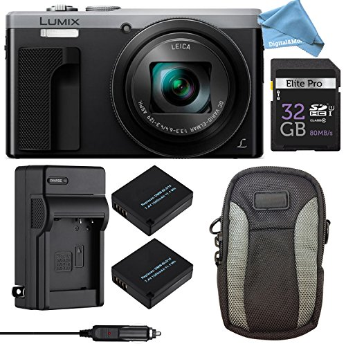 Panasonic LUMIX ZS60 4K Digital Camera ULTIMATE PRO BUNDLE (Silver) – Camera + 32GB SD Card + Replacement Battery and Charger + Professional Digital Camera Case + DigitalAndMore Lens Cleaning Cloth