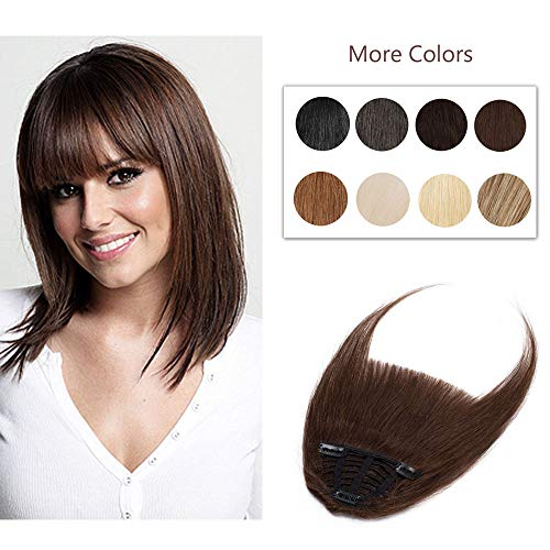 Clip In Bangs 100% Remy Human Hair Extensions One Piece front Neat Fringe Hand Tied Straight Bangs Clip On Hairpiece With Temples For Women #4 Medium Brown 25g (Best Clip In Bang Extensions)