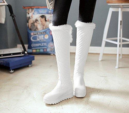 Mostrar Botas Shine Mujeres Chic Platform Hidden Heel Tall Snow Blanco