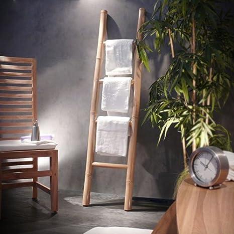 Toallero mueble baño muebles secador de toallas bambú nuevo Tikamoon: Amazon.es: Hogar