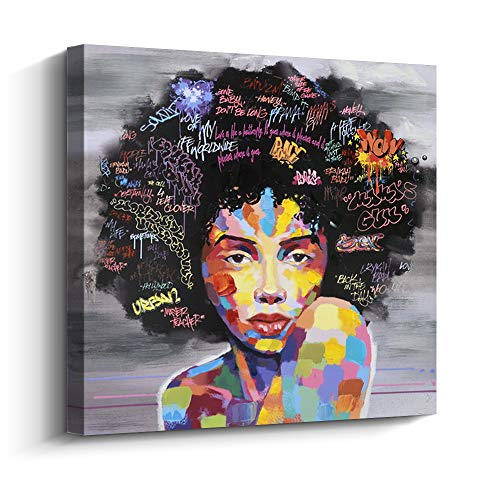 Pinetree Art African American Black Art Canvas Wall Art, Original Designed Pop Graffiti Style Canvas Painting on Print (24 x 24 inch, A Framed)