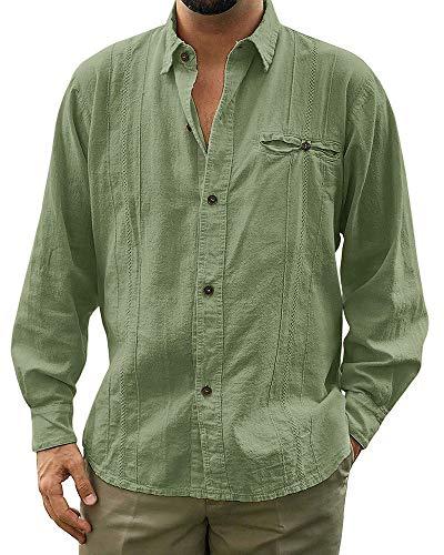 (Makkrom Mens Loose Fit Cuban Camp Guayabera Linen Shirts Long Sleeve Casual Button Down Beach Shirts)