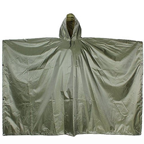 Nylon Ripstop Water (Emergency Reusable Ripstop Nylon Rain Poncho with Stuff Sack (1 Size - 2 Pack))