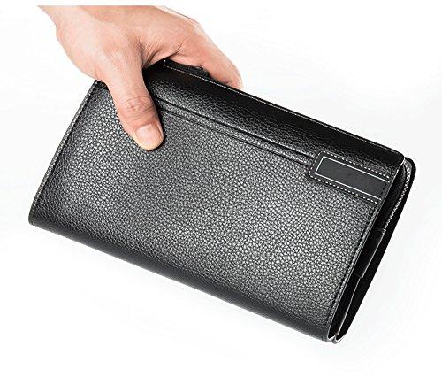 Lungo Nero Capacità Pu Contanti Titolare Grande Carta Portafoglio Uomo Organizzatore Pelle Slot Credito Annata Di xfpIwnq6AP