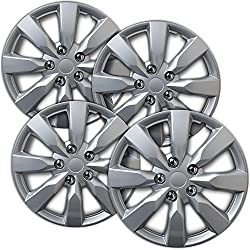 Hubcaps 16 inch Wheel Covers - (Set of 4) Hub Caps for 16in Wheels Rim Cover - Car Accessories Silver Hubcap Best for 16inch Cars Standard Steel Rims - Snap On Auto Tire Replacement Exterior Cap