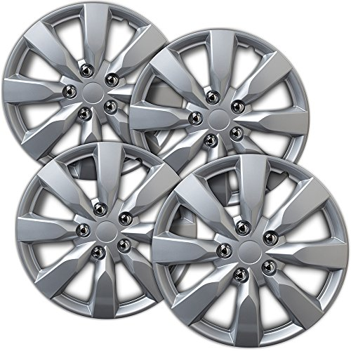 1991 Laser - Hubcaps 16 inch Wheel Covers - (Set of 4) Hub Caps for 16in Wheels Rim Cover - Car Accessories Silver Hubcap Best for 16inch Cars Standard Steel Rims - Snap On Auto Tire Replacement Exterior Cap