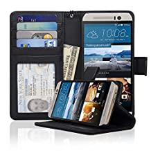 Navor HTC M9 Folio Wallet Leather Case for Cards & Money Pockets, ID Window (Black)