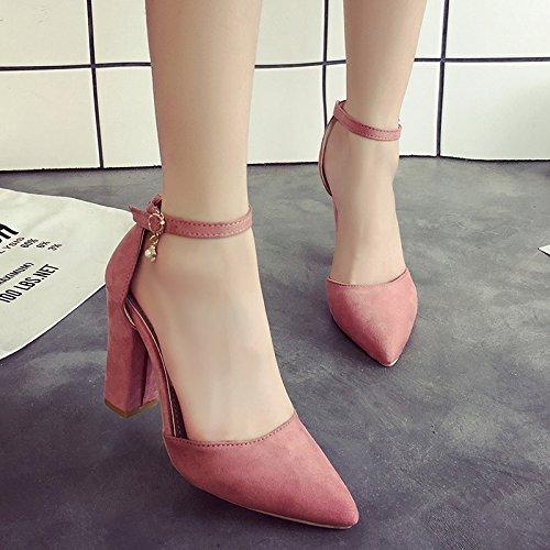 con fessura a Scarpe femminile sandali rosa con alto col yalanshop tacco Girl 35 punta HaqIw