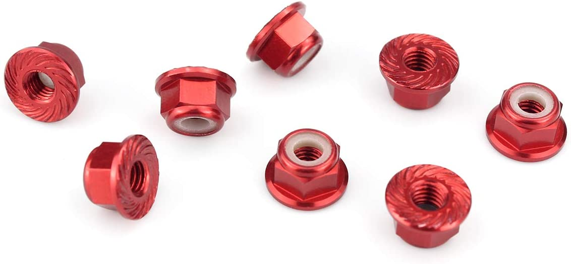 Hosim 8PCS Flange M4 Lock Nuts Serrated Nylon Self-Tightening Aluminum M4 Wheel Hardware for Traxxas Axial HPI TLR ECX Model RC Car Vehicles Upgraded Replacement Parts Red