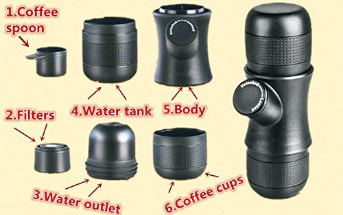 Coffee Maker with Grinder, Minghaidi Mini Portable Espresso Manual Coffee Maker Machine, Small Travel Coffee Machine [No Battery, No Electronic Power ] for Office Home Outdoor (black)