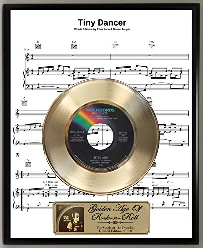 G.A.R.R. Elton John Tiny Dancer Limited Edition 45 RPM Gold Record Sheet Music Poster Art Display with Original Reproduction Sleeve Art & Record Label