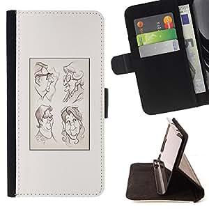 BullDog Case - FOR/Samsung Galaxy S6 / - / portrait character drawing poster /- Monedero de cuero de la PU Llevar cubierta de la caja con el ID Credit Card Slots Flip funda de cuer