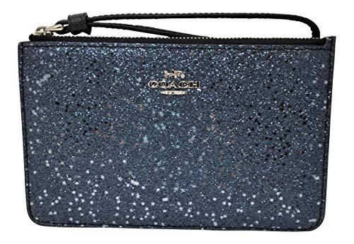 (Coach Boxed Star Glitter Small Corner Zip Wristlet Midnight F38641)