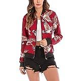 SERYU Zipper V-Neckline Jacket Women's Floral Print Blouse Fashion Baseball Coat
