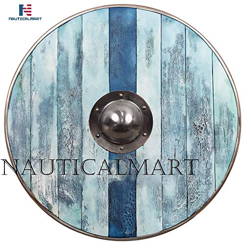 QUALITYMUSICSHOP Aged Wood Viking Shield in Glacier Blue -