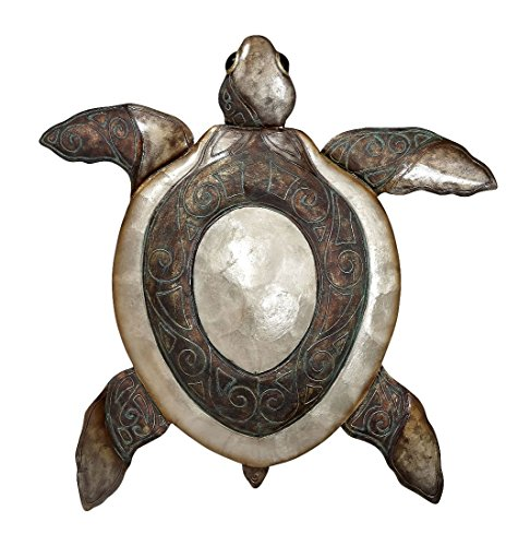 Metal & Capiz Shells Wall Décor, Large Turtle Nautical Decoration