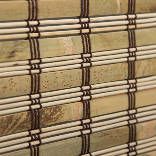 1 Piece 70''Wx74''L Multi Grain Brown Ochre Tan Natural Wood Pull Up Bamboo Blind. Eco Friendly Rustic Roman Country Horizontal Slat With Built In Valance Nature Window Treatment Allows Gentle Sunlight by PH (Image #3)