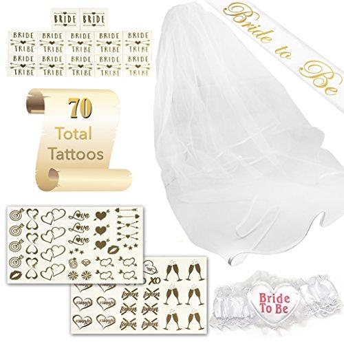 SASSY TATTS Bachelorette Party Kit | 1 Satin Bride To Be Sash, Veil, Garter, 2 Sheets of Chic Tattoos, 12 Bride/Bride Tribe Tattoos | For Bachelorettes, Bridal Showers, Theme Parties, & Weddings Sassy Garter