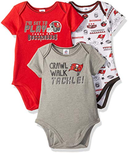 (NFL Tampa Bay Buccaneers Unisex-Baby 3-Pack Short Sleeve Bodysuits, Red, 18 Months)