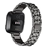 bayite Bling Bands Compatible Fitbit Versa, Metal Bracelet Replacement Band Wristband Accessories Strap for Women