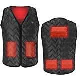 Heated Vest, Heating Electric Vest USB Charging Cold-Proof Heating Clothes Washable (Battery Not Included)(L-3XL) Black