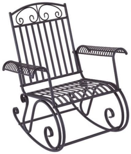 New Black Iron Rocking Chair Scrollwork Porch Rocker Outdoor Furniture Exterior