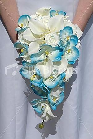 Aqua Bleu Orchidee Ivoire Arum Rose Bouquet De Mariee En