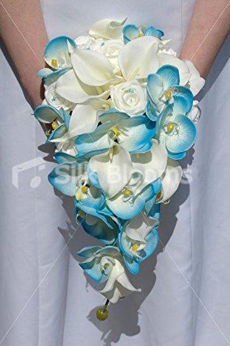- Aqua Blue Orchid Ivory Calla Lily Rose Cascading Bridal Bouquet