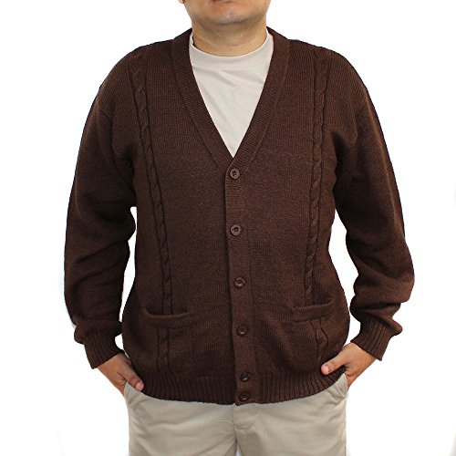 Jersey V-neck Cardigan - Alpaca Cardigan Jersey BRIAD V Neck Buttons and Pockets Made In Peru Brown S