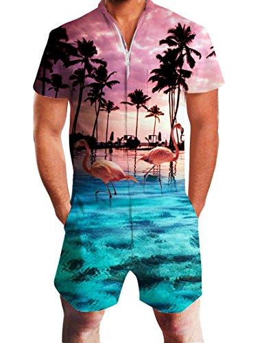 Men's Summer Cool Hawaiian Flamingo Zipper Romper Jumpsuit Holiday Plus Size XL ()
