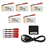 ENGPOW F181 Drone Battery 3.7V 800mAh Lipo Battery X5 Charger Holy Stone F181C F181W Potensic F181DH JJRC H12C H12W RC Quadcopter 5 Pcs