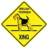 KC Creations Welsh Terrier Xing Caution Crossing Sign Dog Gift