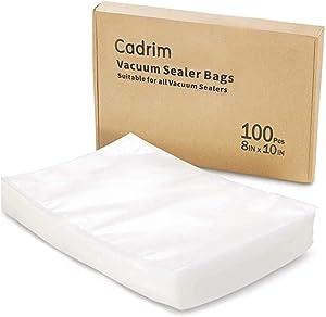 Cadrim Vacuum Sealer Storage Bags, 100PCS Food Grade Sealing Storage Bags and Meal Vac Sealers for Food Saving, Preservation and Sous Vide (Size 8x10 Inch) (Vaccum Sealer Bags)