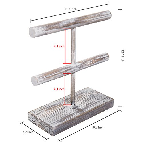 MyGift Rustic 2-Tier Torched Wood T-Bar Jewelry Display Rack, Bracelet & Watch Organizer by MyGift (Image #4)