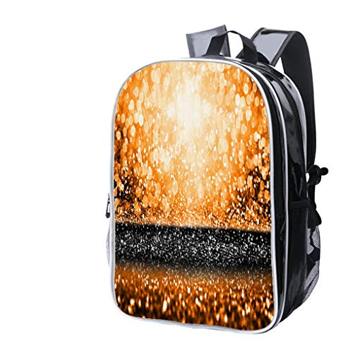 High-end Custom Laptop Backpack-Leisure Travel Backpack Abstract Orange Black Thanksgiving Party or Halloween Bash Glitter Water Resistant-Anti Theft - Durable -Ultralight- Classic-School-Black -