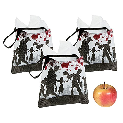 (12) Halloween Party Favor Mini Goody Treat ZOMBIE Walking Dead Totes Tote Bags (Halloween Candy Opened)
