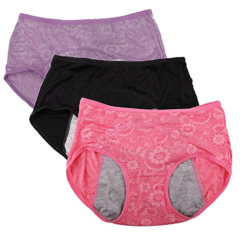 YOYI FASHION Women Menstrual Period Briefs Jacquard Easy Clean Panties US Size XL/8 Red Black - Black Lotus Clothing