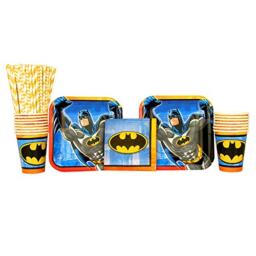 Batman Birthday Party Supplies Pack for 16 Guests | Paper Straws, 16 Dessert Plates, 16 Beverage Napkins, and 16 Cups | Perfect For Kids Birthday Parties | Great For Your Little Crime Fighters Party -