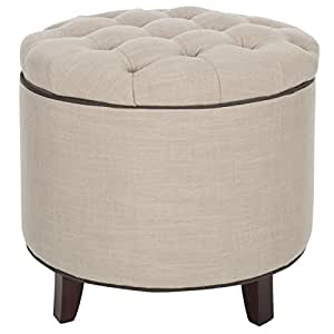 Safavieh Amelia Tufted Storage Ottoman, White/Grey