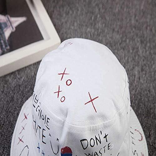 youler Cappello da Pescatore Bianco Cappellino da Sole in Morbido Cotone Cappello da Pescatore,Pieghevole Graffiti creativi Adatto Hat per Escursionismo Campeggio in Viaggio Pesca 56-58cm