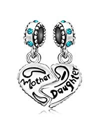 JMQJewelry Mom Heart Love Mother 12 Colors Daughter Heart Charms Beads Charms For Bracelets