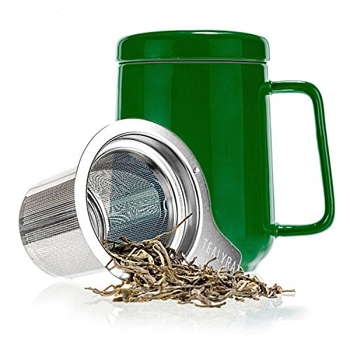 Tealyra - Peak Ceramic Green Tea Cup Infuser - 19-ounce - Large Mug with Lid and Stainless Steel Infuser - Tea-For-One Perfect Set for Office and Home Uses - 580 milliliter (How Do You Infuse Tea)