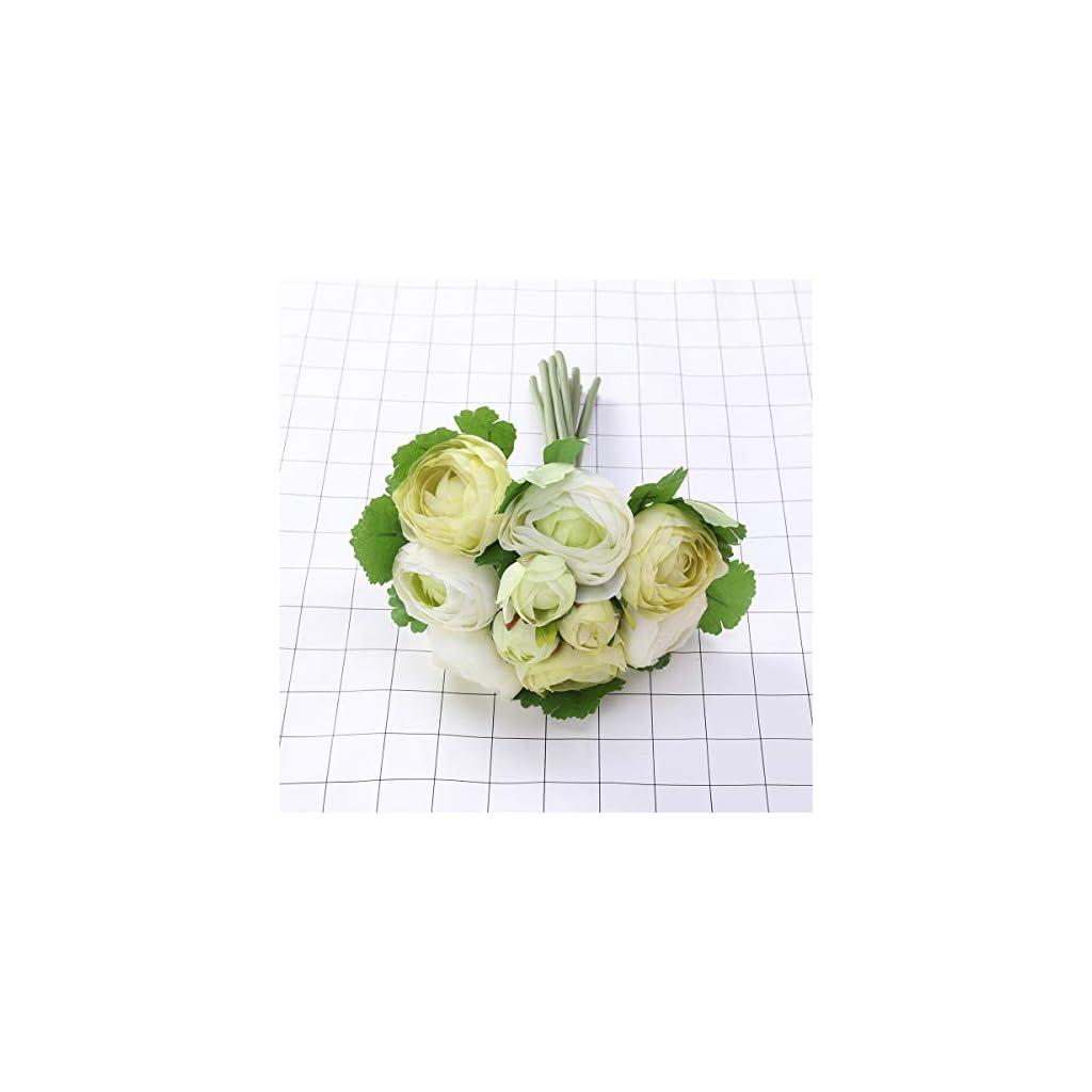 BESTOYARD 10pcs Artificial Flowers Camellia Bridal Wedding Bouquet Bridesmaid Bride Toss Bouquet Home Decoration (Green & White)
