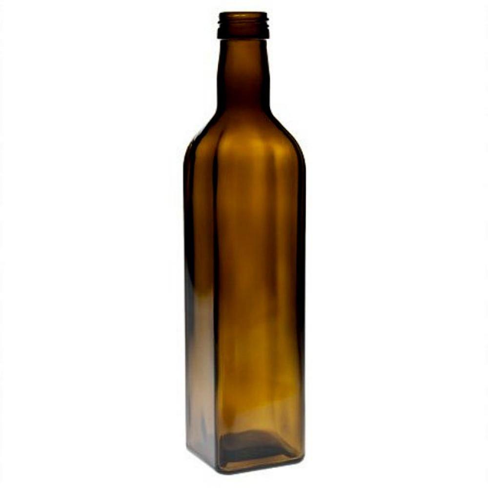 Viva Haushaltswaren # 36945 # 2 x Aceitera (500 ML, Botella de Cristal con Rosca, Incluye Etiquetas para Escribir, marrón, 5.8 x 5.8 x 26 cm: Amazon.es: ...