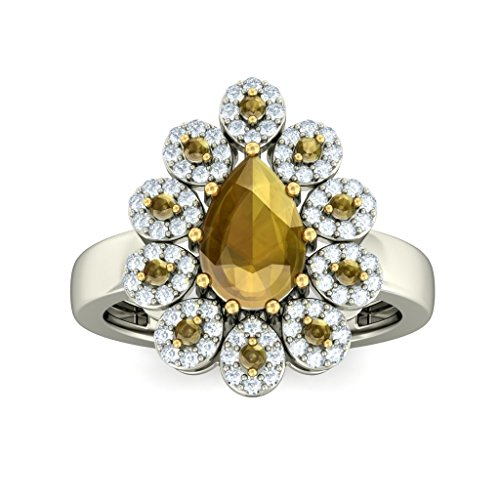 14 K Or blanc, 0,4 carat Diamant Blanc (IJ | SI) Citrine et diamant Bague