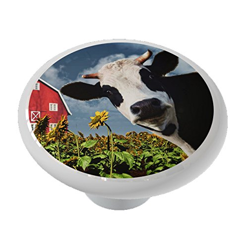 Cow at the Sunflower Farm High Gloss Ceramic Drawer Knob -