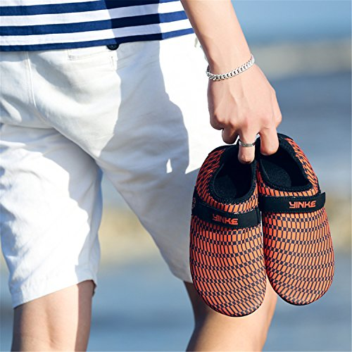 Schuhe Barfuß Badeschuhe Orange Aquaschuhe Klettverschluss Leicht Schwimmschuhe Damen Für Saguaro Mit Herren Rutschfeste Atmungsaktiv Strandschuhe 08g5w6x