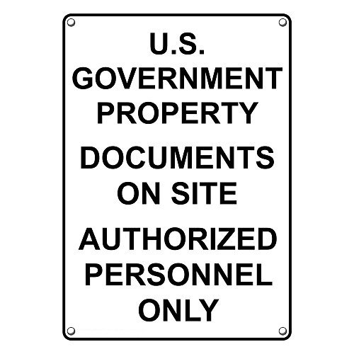 Weatherproof Plastic Vertical U S  Government Property Sign With English Text