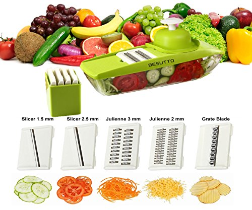 Mandoline Slicer - Potato Slicer - Vegetable Grater - Cutter for Cucumber, Cheese, Onion with 5 Stainless Steel Blades - Julienne Vegetable Slicer - Food Container - Mandolin Besutto